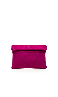 Marie Turnor The Wrap Clutch in Magenta Suede