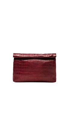 Marie Turnor Lunch Clutch in Crocodile Embossed Marsala