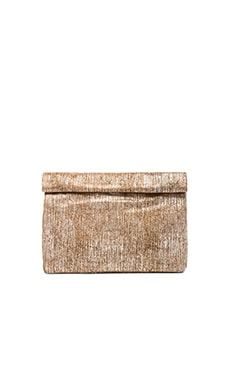 Marie Turnor Lunch Clutch in Textured Brown Suede
