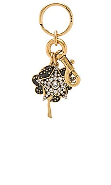 Enamel Tree & Star Bag Charm in Antique Gold