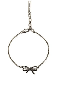 Pave Twisted Bow Chain Bracelet in Black & Antique Silver