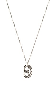 Marc Jacobs Charms Pretzel Pendant Necklace in Crystal & Antique Silver