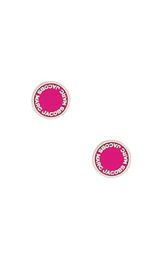 Enamel Logo Disc Studs in Raspberry