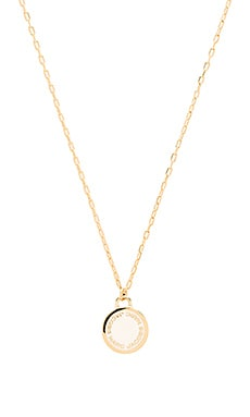 Enamel Logo Disc Pendant Necklace in Cream
