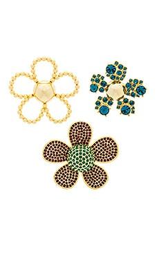 Фото - Daisy pave brooch set - Marc Jacobs цвет металлический золотой