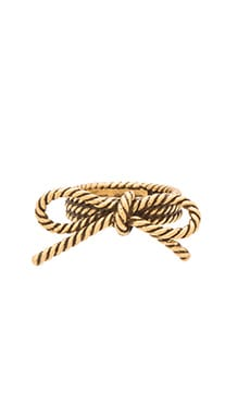 Marc Jacobs Rope Bow Ring in Antique Gold