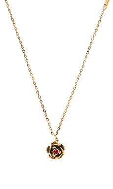 Marc Jacobs Small Flower Pendant Necklace in Red & Antique Gold