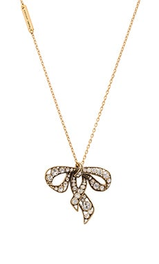 Marc Jacobs Charms Bow Necklace in Crystal & Antique Gold
