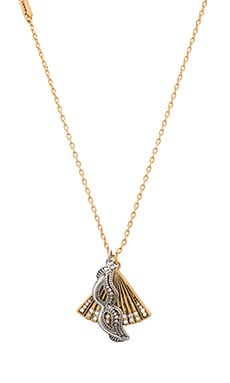Marc Jacobs Charms Fan Mask Necklace in Crystal & Antique Gold