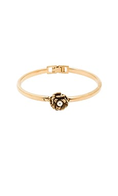 Marc Jacobs Flower Hinge Cuff in Cream & Antique Gold