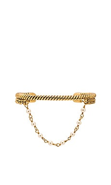 Marc Jacobs Pearl Hanging Chain Cuff in Cream & Antique Gold