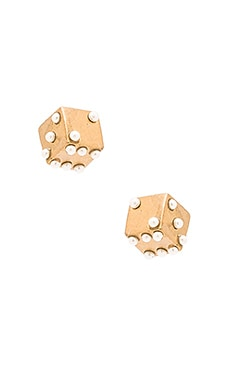 Marc Jacobs Charms Dice Stud Earrings in Antique Gold