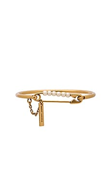 Marc Jacobs Charms Pearl Safety Pin Hinge Cuff in Cream & Antique Gold