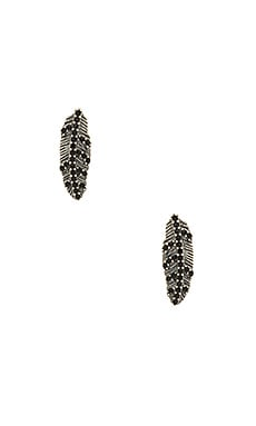 Marc Jacobs Dark Plumes Stud Earrings in Jet & Antique Silver