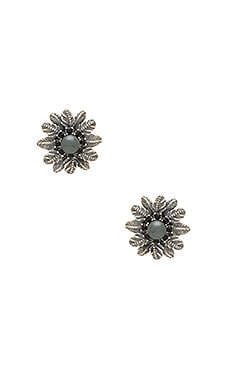 Marc Jacobs Dark Plumes Pearl Stud Earrings in Jet & Antique Silver