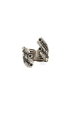 Marc Jacobs Dark Plumes Statement Ring in Jet & Antique Silver