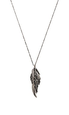 Marc Jacobs Dark Plumes Long Pendant Necklace in Jet & Antique Silver