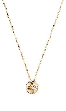 Marc Jacobs MJ Coin Pendant Necklace in Crystal & Gold