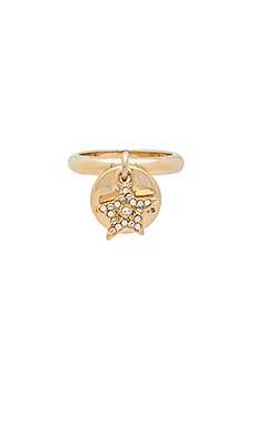 Marc Jacobs MJ Coin Charm Ring in Crystal & Gold