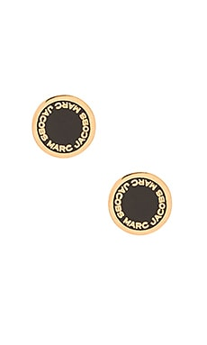 Marc Jacobs Enamel Logo Disc Stud Earrings in Black & Oro
