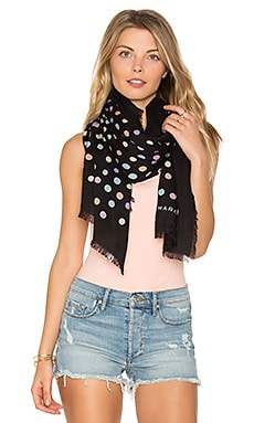 Pastel Dot Large Scarf in Black Multi