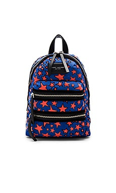 Flocked Star Printed Biker Mini Backpack in Web Blue Multi
