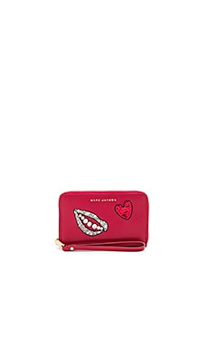 Sequin Hand To Heart Zip Phone Wristlet in Bisou Red
