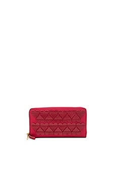 Stitched Heats Standard Continental Wallet in Bisou Red