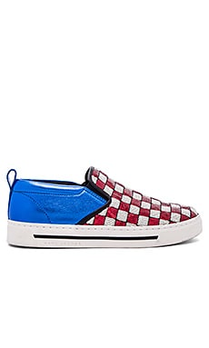 Mercer Slip On Skate Sneaker in Red & White