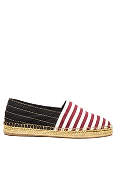 Sienna Flat Espadrille in Bordeaux & White