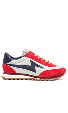Astor Lightening Bolt Sneaker in Pale Blue & Red