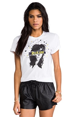 Markus Lupfer Rockstar Sequin Alex Tee in White & Yellow