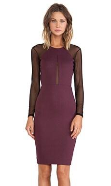 Mason by Michelle Mason Mesh Long Sleeve Dress in Wine