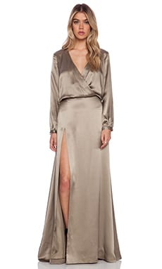 Mason by Michelle Mason Wrap Gown in Pewter
