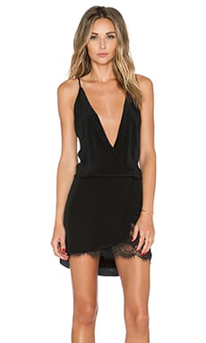 Mason by Michelle Mason Wrap Mini Dress in Black