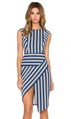 Mason by Michelle Mason Asym Dress with Cut Outs in Marine Stripe