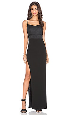 Mason by Michelle Mason Side Slit Corset Gown in Black & Black