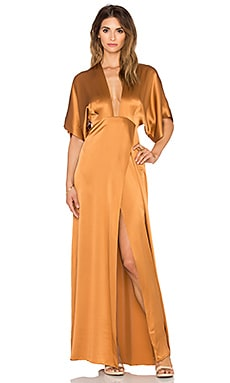 Mason by Michelle Mason Plunge Neck Kimono Gown in Copper