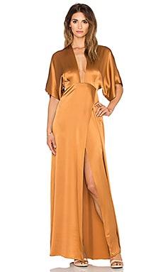 Mason by Michelle Mason Plunge Neck Kimono Gown in Copper