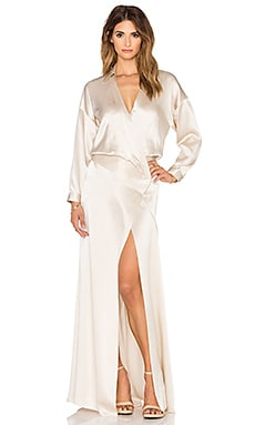 Mason by Michelle Mason Oversized Wrap Gown in Oyster