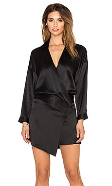 Mason by Michelle Mason Oversized Wrap Mini Dress in Black