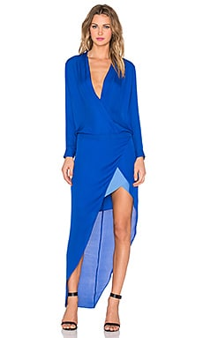 Long Sleeve Contrast Slip Gown en Bleu