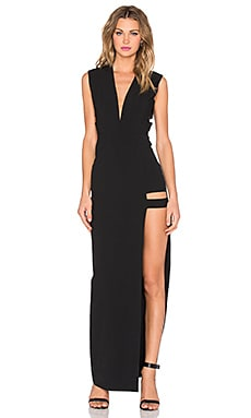 Mason by Michelle Mason Cage Plunge Gown in Black