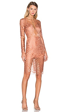 Michelle Mason Long Sleeve Lace Dress in Terracotta