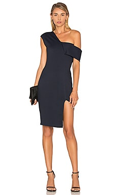 Michelle Mason Asymmetrical Strap Dress in Midnight