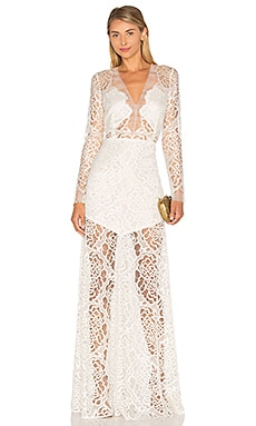 Long Sleeve Lace Gown en Ivoire