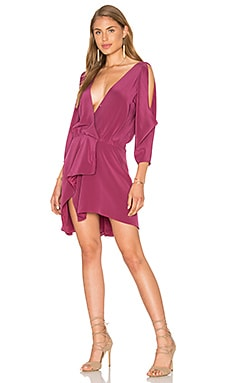 Open Shoulder Drape Dress in Puce