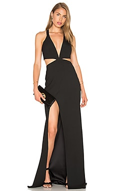 Cut Out Plunge Gown in Black