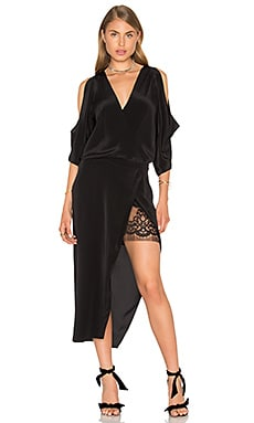 Michelle Mason Open Shoulder Lace Dress in Black
