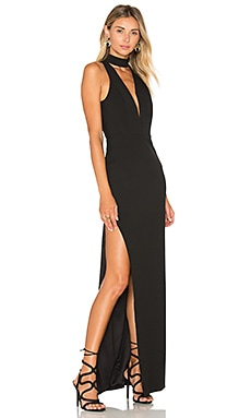 x REVOLVE Plunge Halter Gown in Black